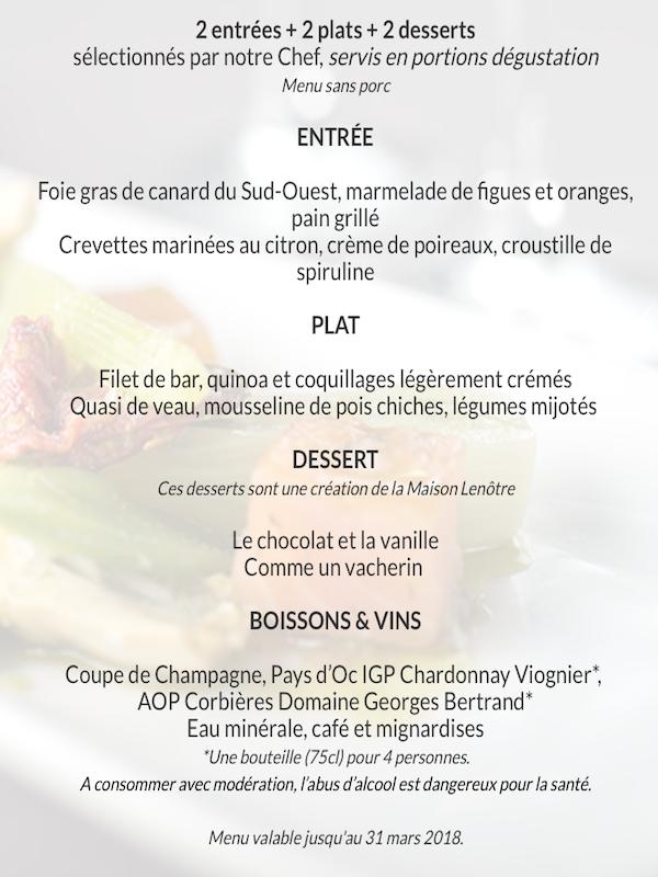 menu decouverte